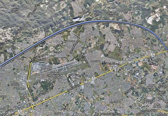 Mapa do trecho norte do Rodoanel
