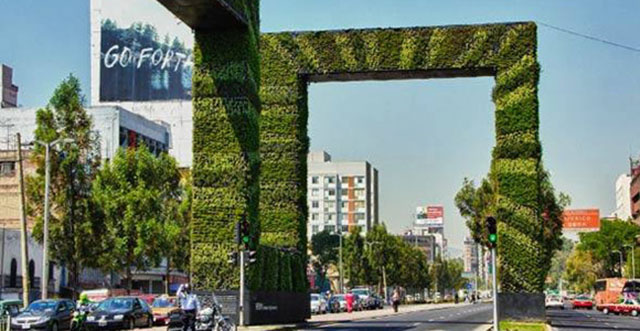 jardim vertical urbano:Jardim vertical no centro da Cidade do México. Foto: ressoar