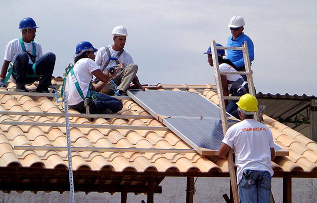 Instalação do painel fotovoltaico