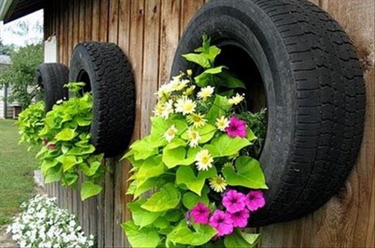 horta e jardim em pneus : horta e jardim em pneus:Passo a Passo: dicas de arte em pneus usados – Pensamento Verde