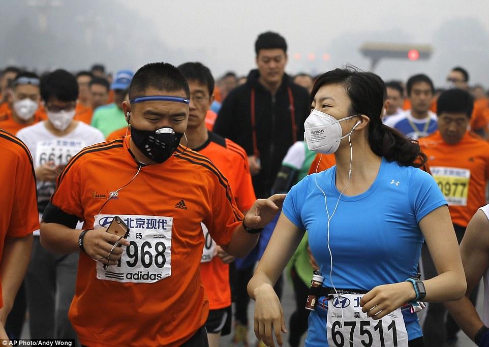 Maratonistas em Beijing, China.