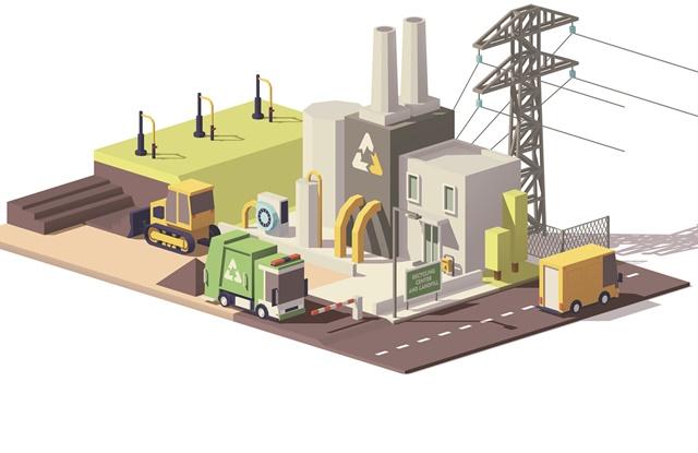 desenho de fabrica de reciclagem e geradora de energia
