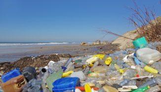 foto de praia cheia de lixo plástico