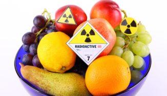 foto de frutas com símbolo radioativo