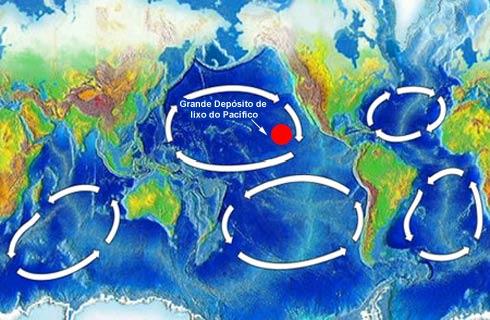 localização da Ilha de lixo do Pacífico